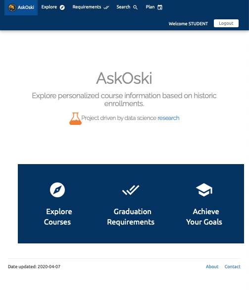Screenshot of Ask Oski personalized course information app