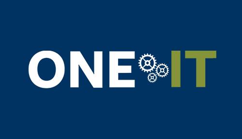 One IT logo in a blue block