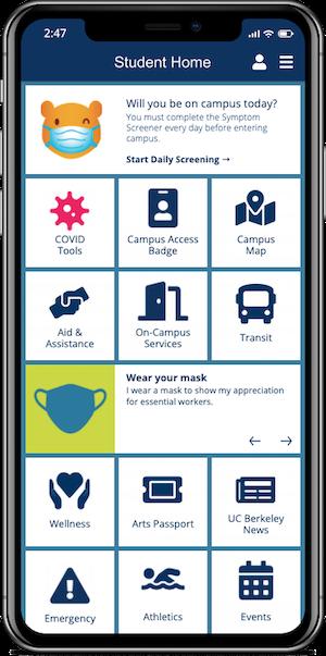screenshot of the Berkeley Mobile app