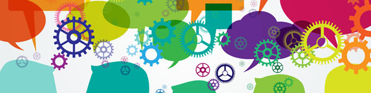 image of colorful heads with gears and conversation bubbles