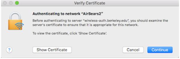 screenshot of Wi-Fi message on Mac