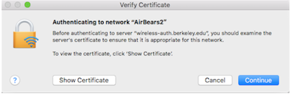 screenshot of Wi-Fi message on Mac