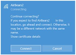 screenshot of Wi-Fi message in Windows