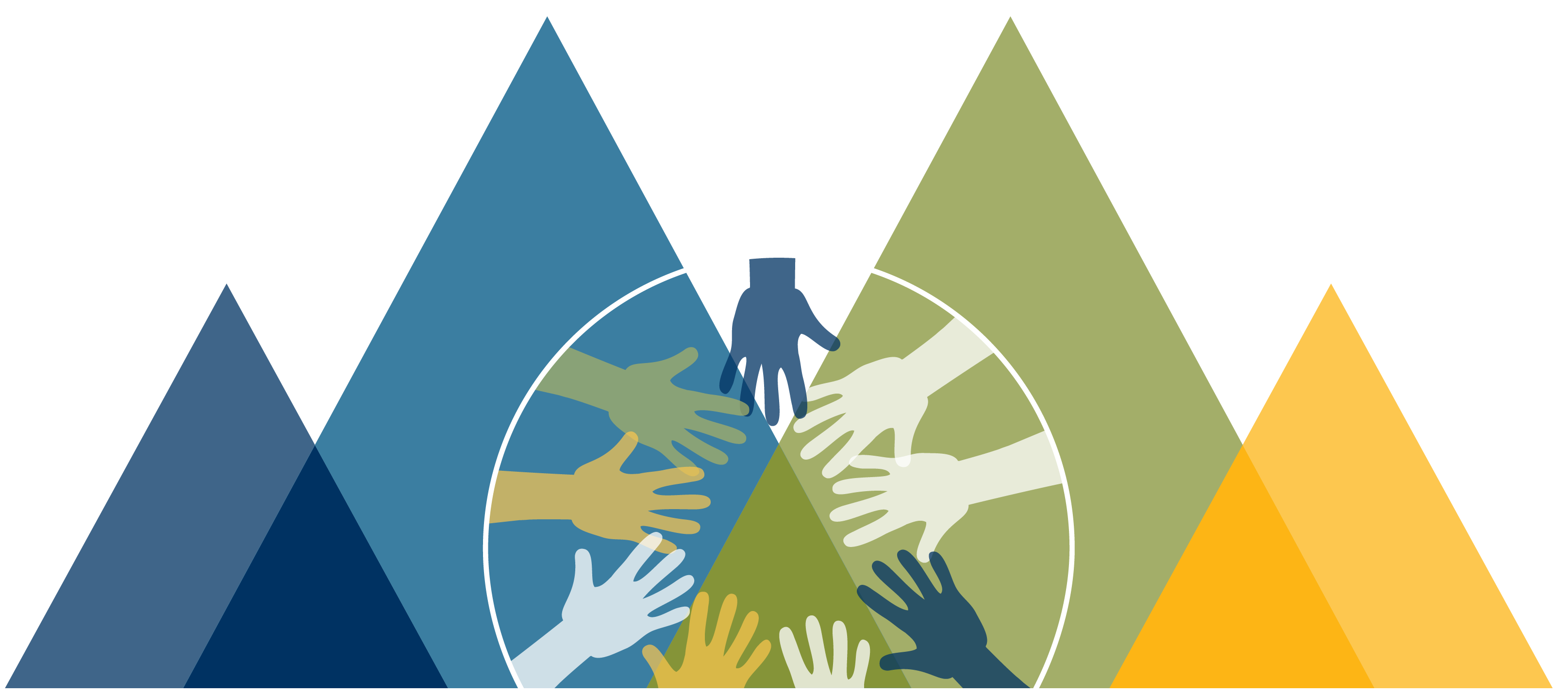 multi-colored mountains with a circle overlaid of all hands in