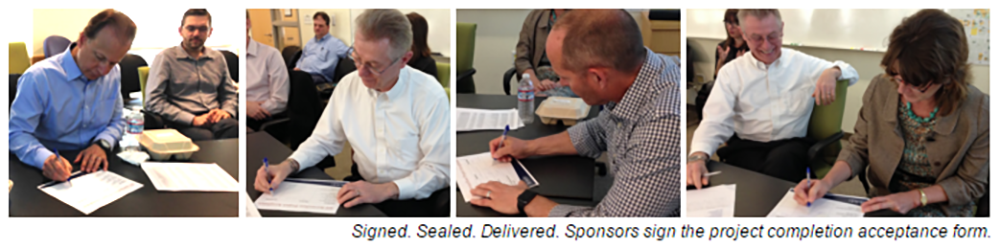 photos of sponsors signing project completion acceptance forms