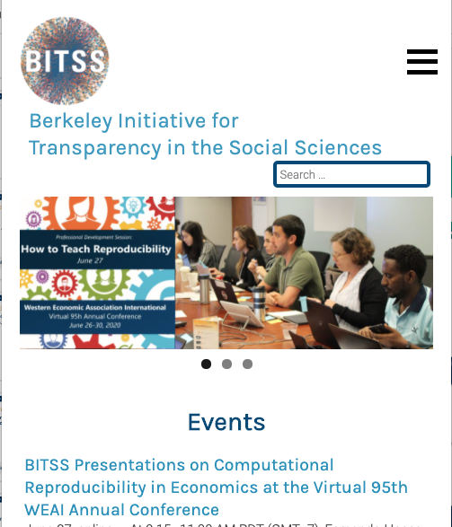 Screenshot of Berkeley Initiative for Transparency in the Social Sciences (BITSS) mobile site