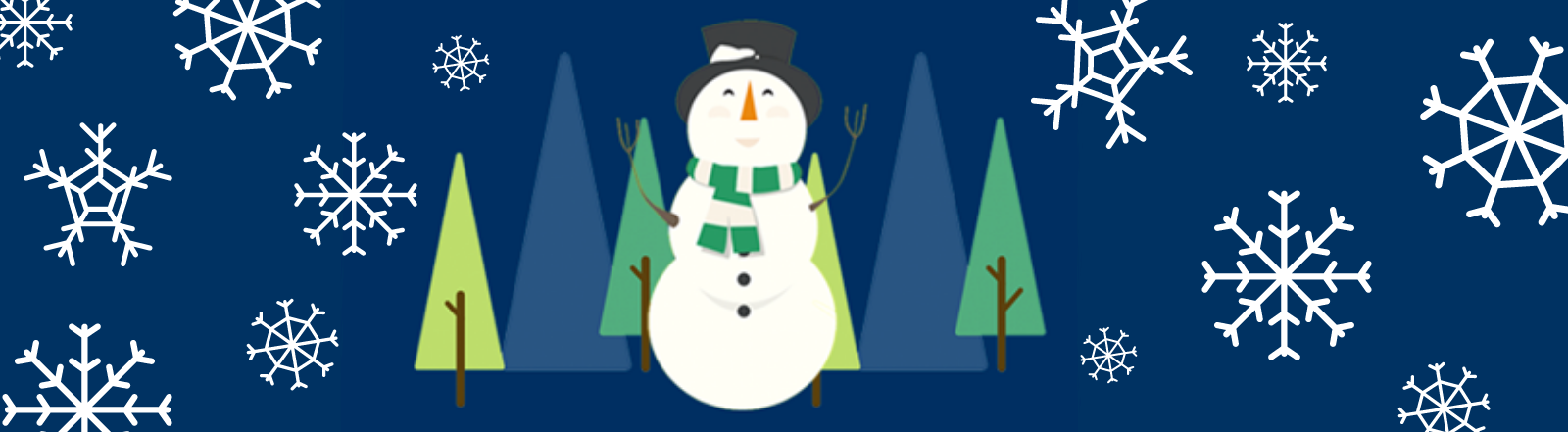 winter curtailment image of snowman and snowflakes