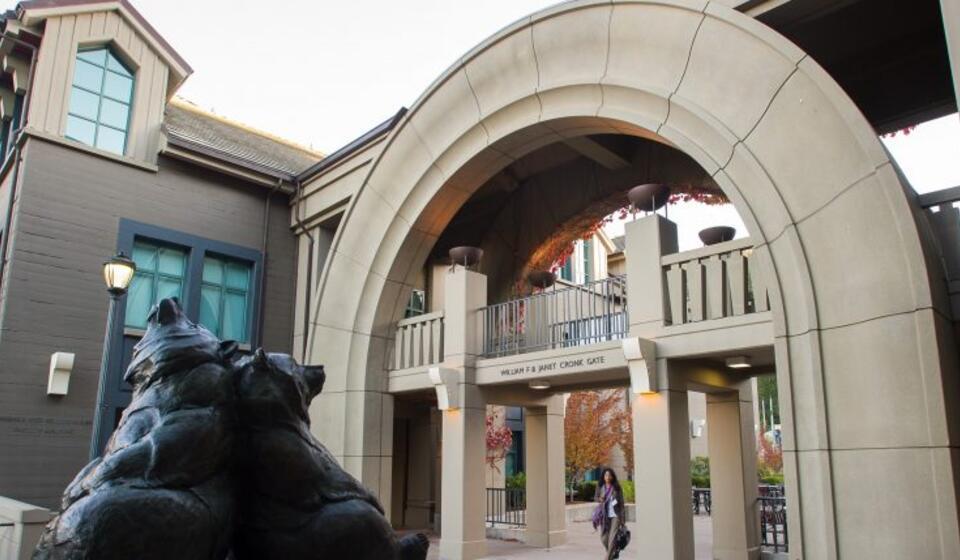 bear statue outside Haas School of Business