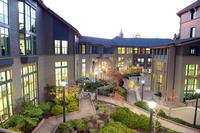 photo of the courtyard at Haas