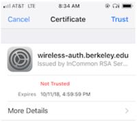 screenshot of Wi-Fi message on iPhone