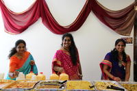 Sri, Keerthy and Deepthika - with the food