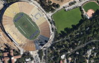 aerial photograph of memorial stadium