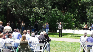 Larry Conrad speaking at the One IT picnic, June 2014