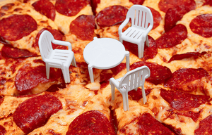 pizza with chairs