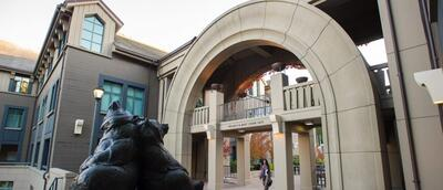 bear statue outside Haas School of Business
