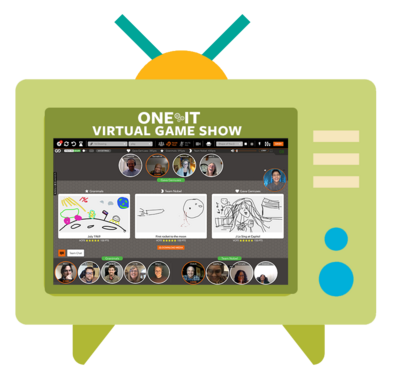 TV graphic with screenshot of Feb virtual game show group during play